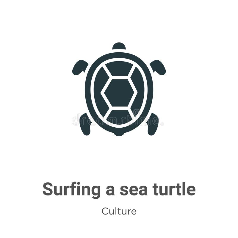 Surfing a sea turtle vector icon on white background. Flat vector surfing a sea turtle icon symbol sign from modern culture stock illustration
