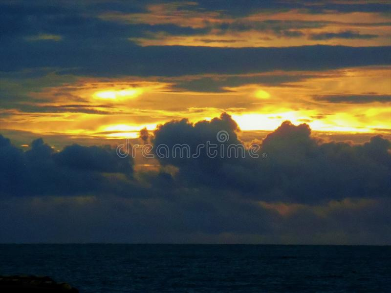 Horizon on the selat sunda. Surfing in selat sunda with sunset background take the beach of carita stock images