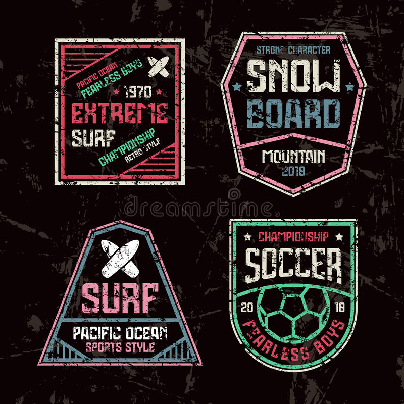 Surfing, soccer and snowboard badges. Graphic design for t-shirt. Color print on black background stock illustration