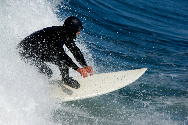Surfing speed. Surfing in Pacific ocean at Oregon beach, USA stock photos