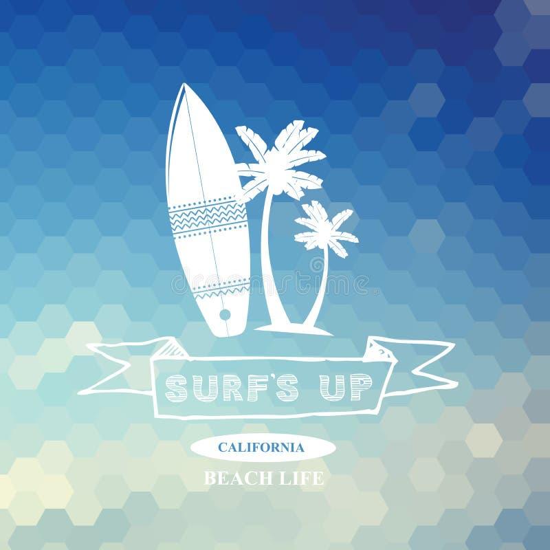 Surfing summer icon, vector label. stock illustration