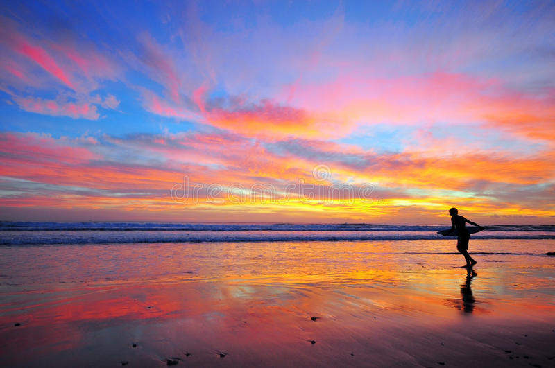 Download Surfing on sunset stock image. Image of nature, board - 35259325