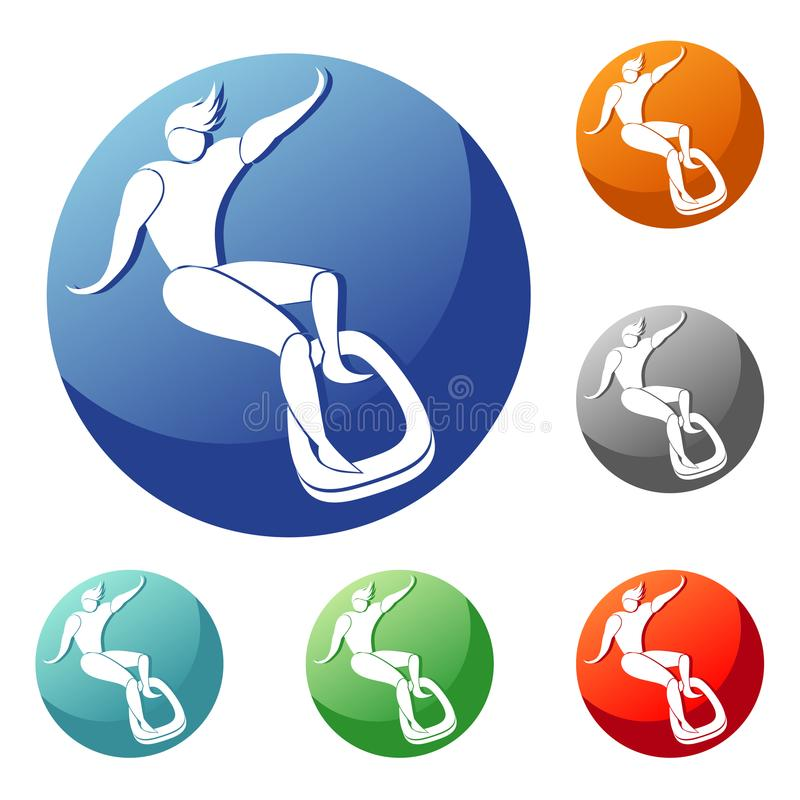 Surfboard on the board slips. icon. Surfing, surfboard on the board slips. icon, sign, emblem in a circle of different colors royalty free illustration