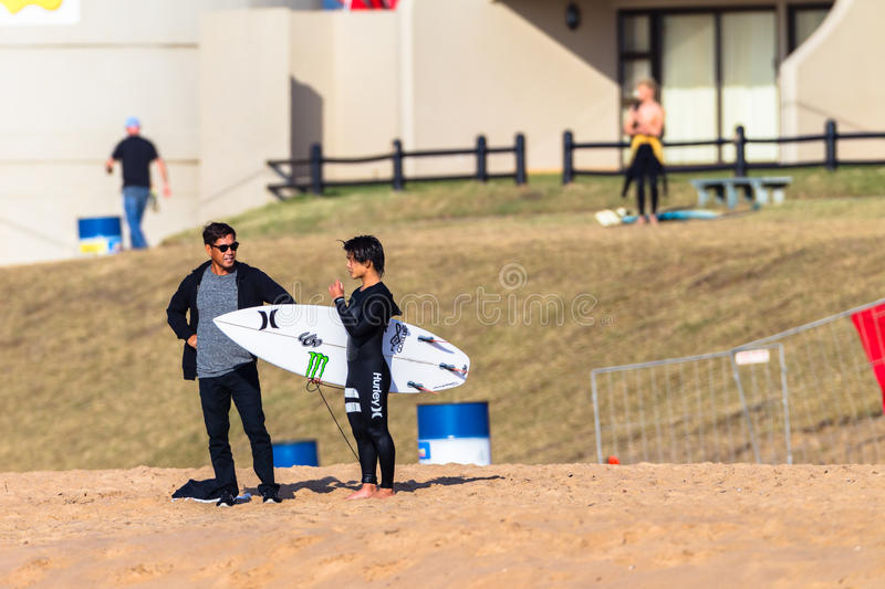 Surfing Surfer Beach Coach Adviser royalty free stock images
