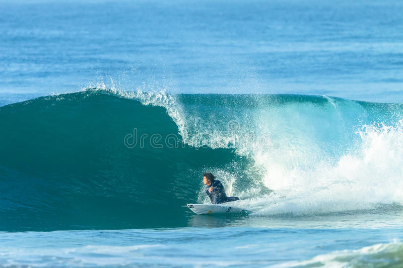 Surfing Surfer Japan Catching Blue Wave royalty free stock photo