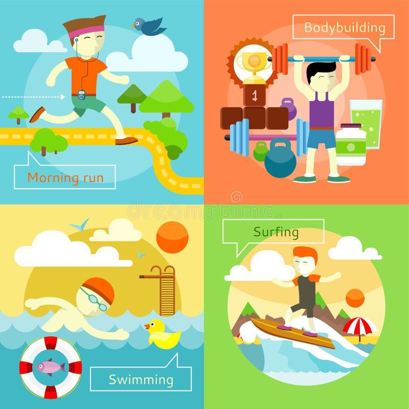 Surfing, Swimming, Morning Run and Bodybuilding stock illustration