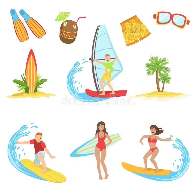 Surfing Vacation Icon Set stock illustration
