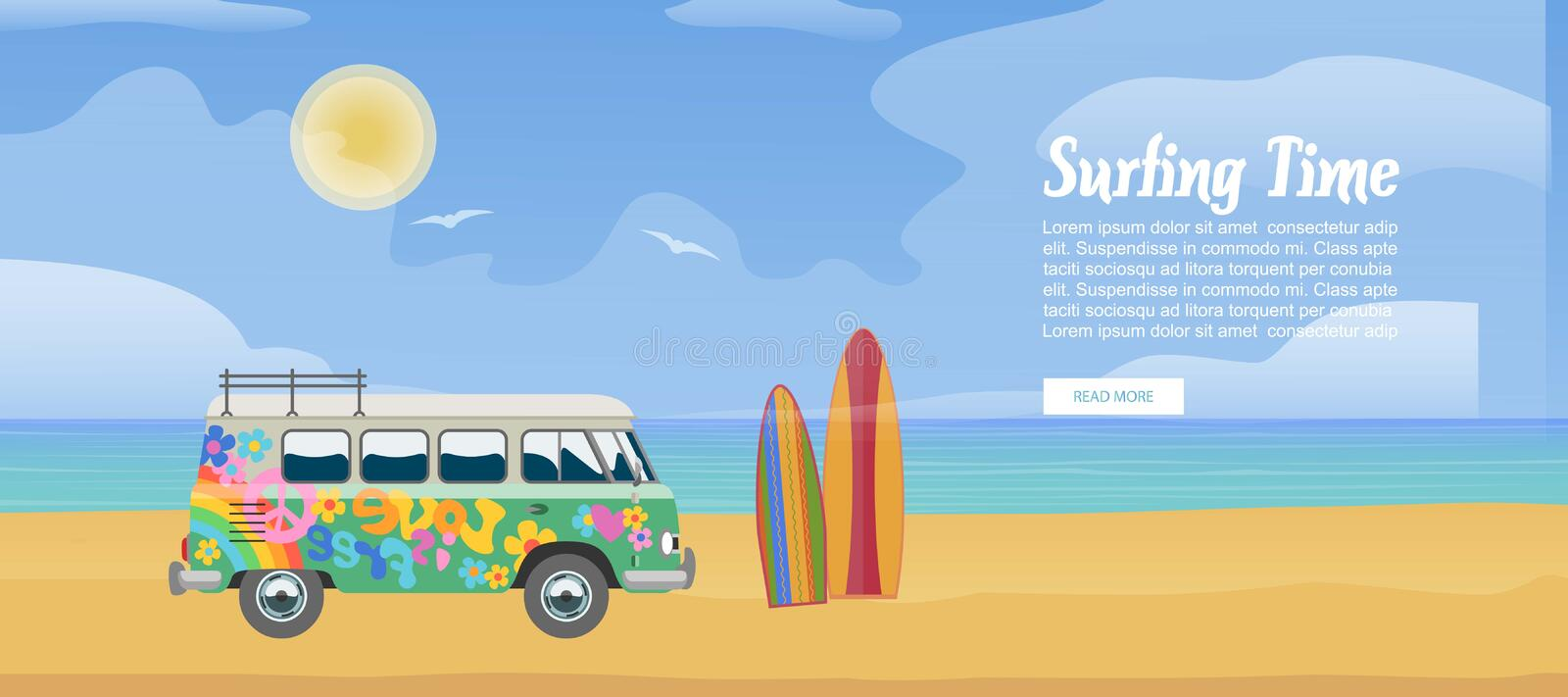 Surfing van on the sandy beach, surfboard, sea waves and clear sunny day vector illustration. Surf bus poster design for vector illustration
