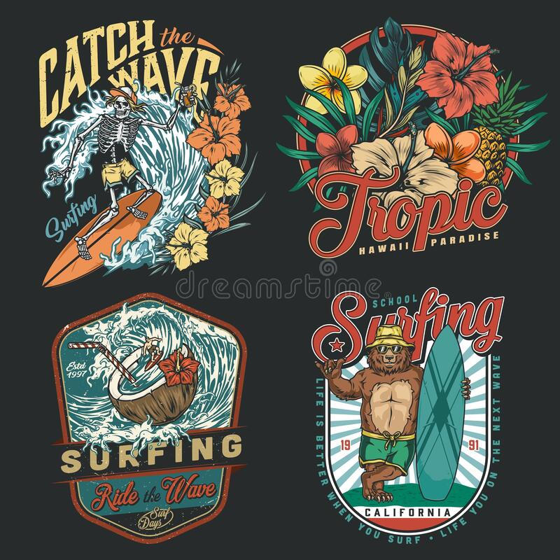 Free Surfing Vintage Colorful Emblems Royalty Free Stock Images - 215733859