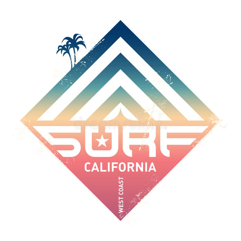Surfing vintage label. California west coast surfers. Pacific Ocean team. Vector illustration for surf board design with modern g royalty free illustration