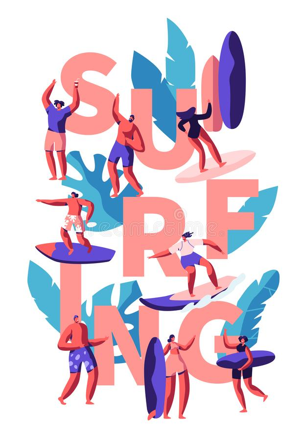 Surfing Water Activity for Young People. Woman and Man with Surfboard on Beach. Male Riding on Wave in See. Female Character royalty free illustration