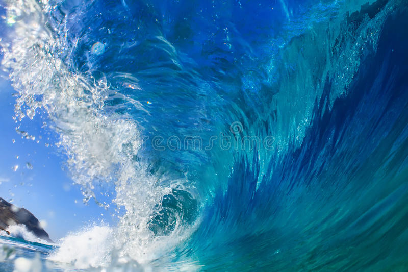 Surfing Wave in Oahu Hawaii USA royalty free stock image