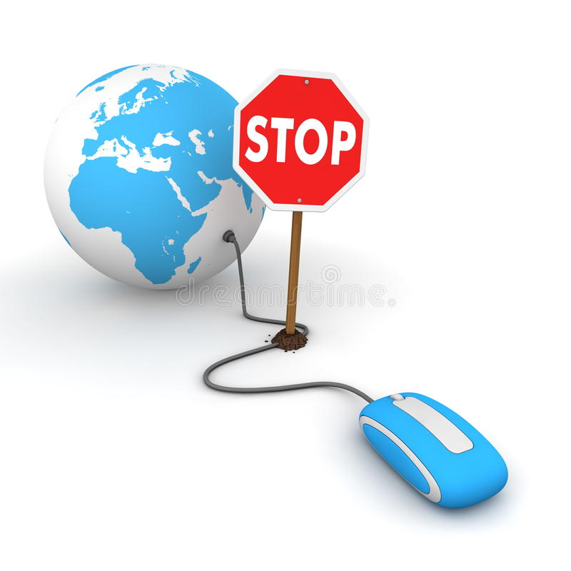 Download Surfing The Web In Blue - Blocked By A Stop Sign Stock Illustration - Illustration: 16169439