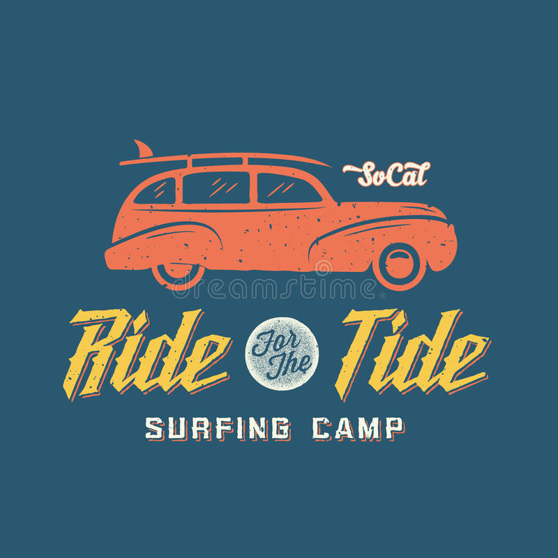 Surfing Woodie Car Retro Style Label or Logo. Template with Shabby Textures. Good for Posters, T-shirt Prints etc stock illustration