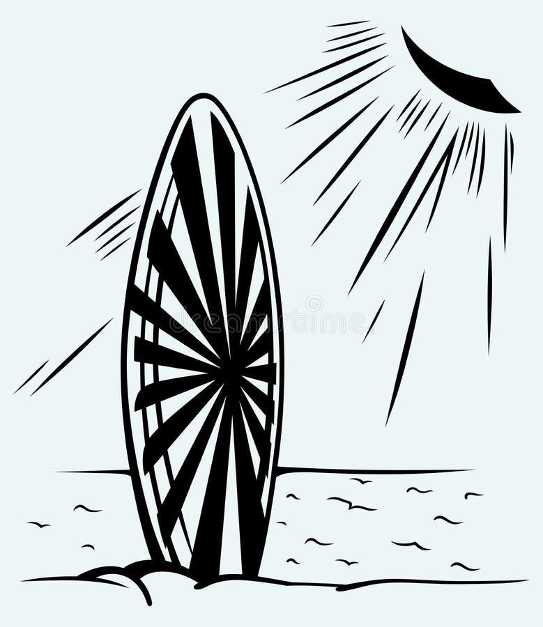 Surfingbräda på en strand vektor illustrationer