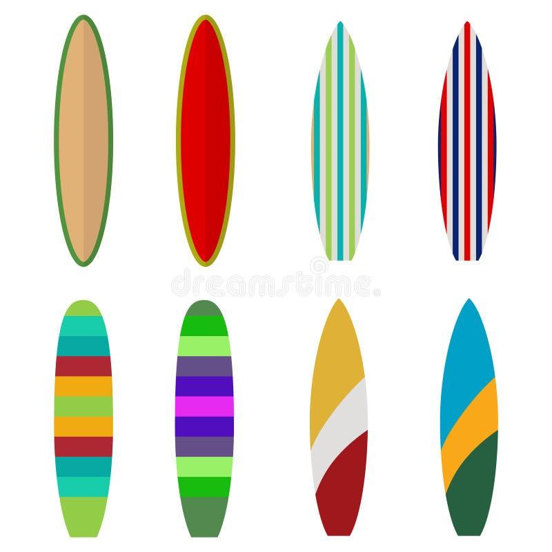 Surfingbräda uppsättning av kulöra surfingbrädor, surfare vektor illustrationer