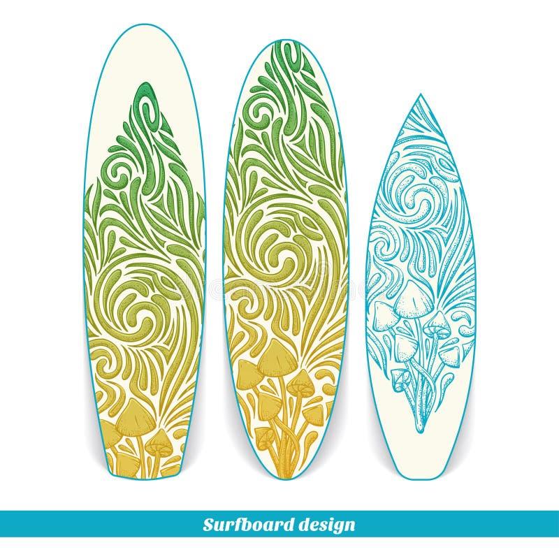 Surfingbrädadesign fem vektor illustrationer