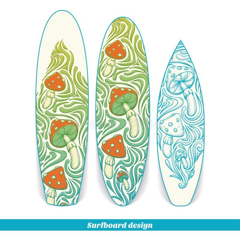 Surfingbrädadesign fyra stock illustrationer