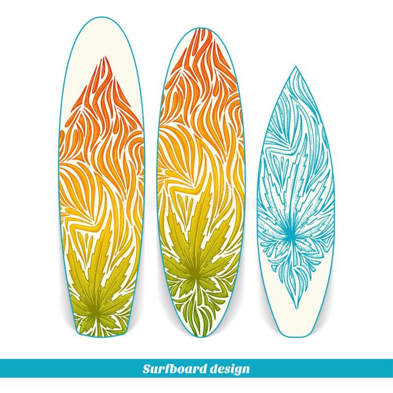 Surfingbrädadesign tre vektor illustrationer