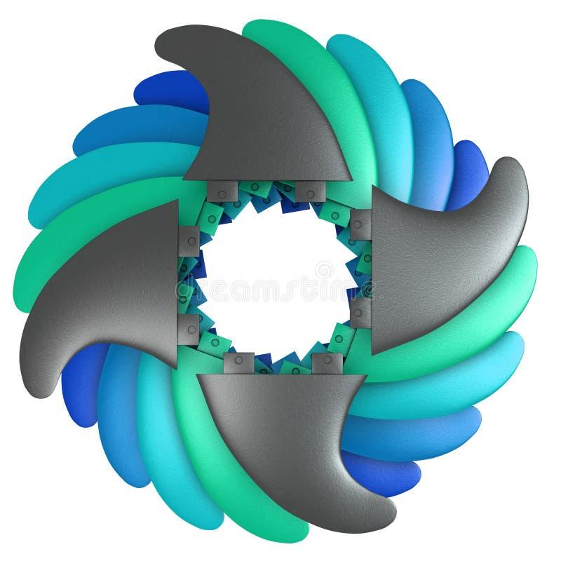 Surfingbrädafena som är geometriska i cirkel i olika färger royaltyfria foton
