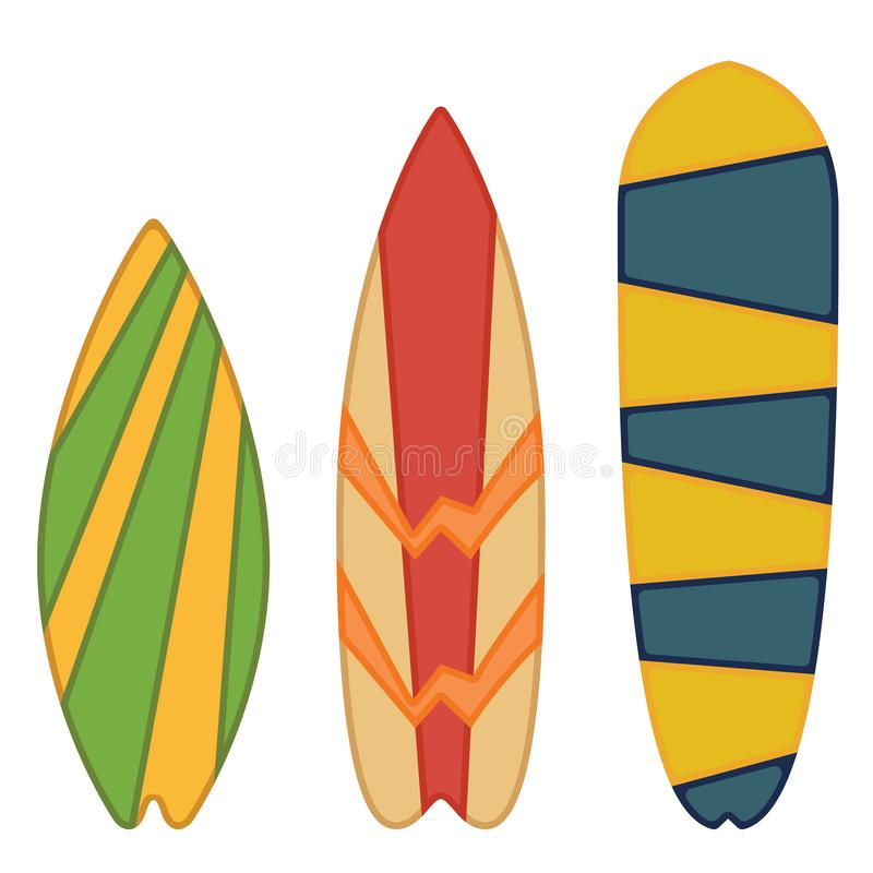 Surfingbrädasamling som isoleras på vit bakgrund stock illustrationer