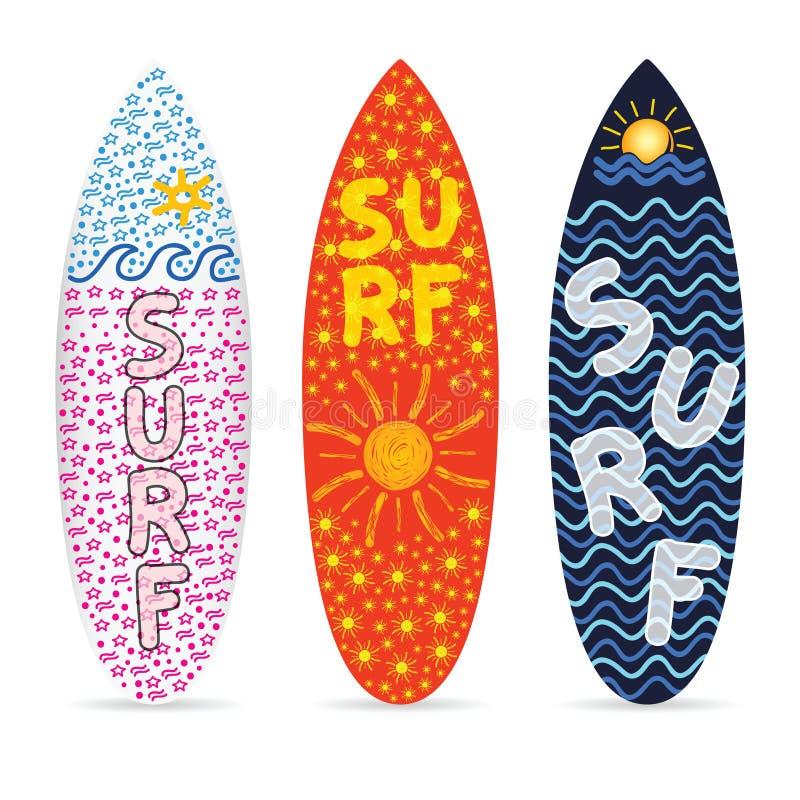 Surfingbrädauppsättning med symbol av bränningdesignen på det illustration vektor illustrationer