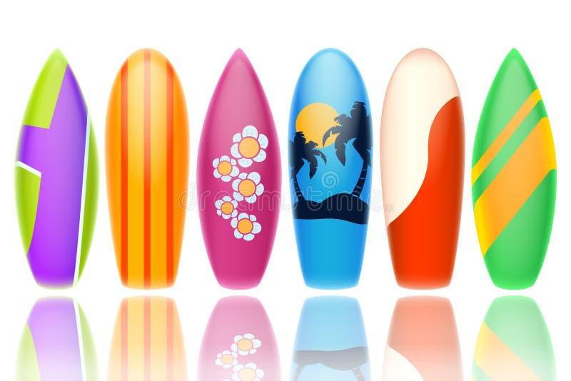 surfingbrädor stock illustrationer