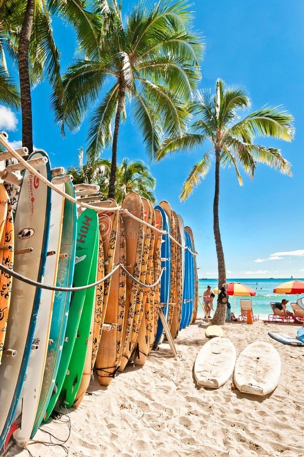 Surfingbrädor i kuggen på den Waikiki stranden arkivbilder