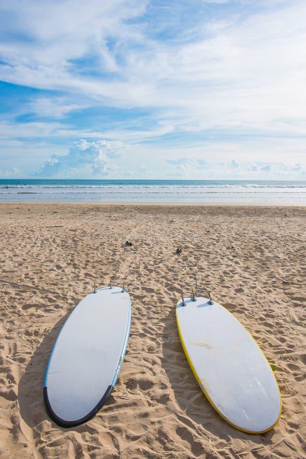 Surfingbrädor på sand på stranden royaltyfri foto