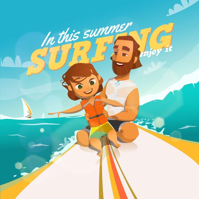 Surfingn este verão Aprecie-o ilustração do vetor