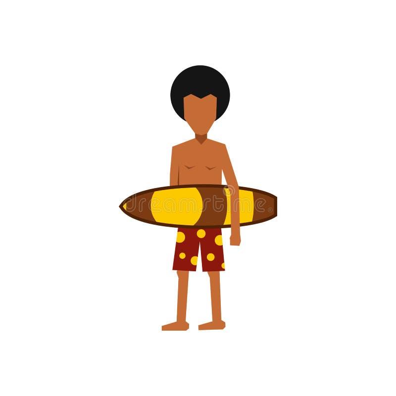 Surfingowa mężczyzna mienia surfboard żółta ikona ilustracja wektor