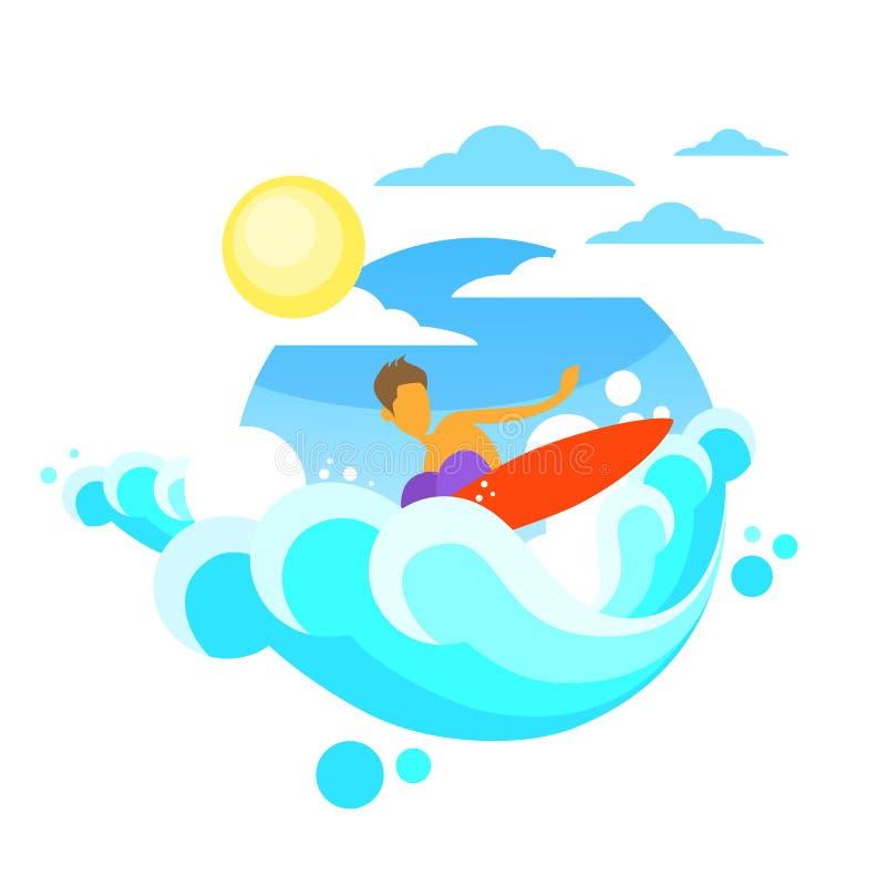 Surfingowa mężczyzna surfingu morza fala na pokładzie lato oceanu ilustracja wektor