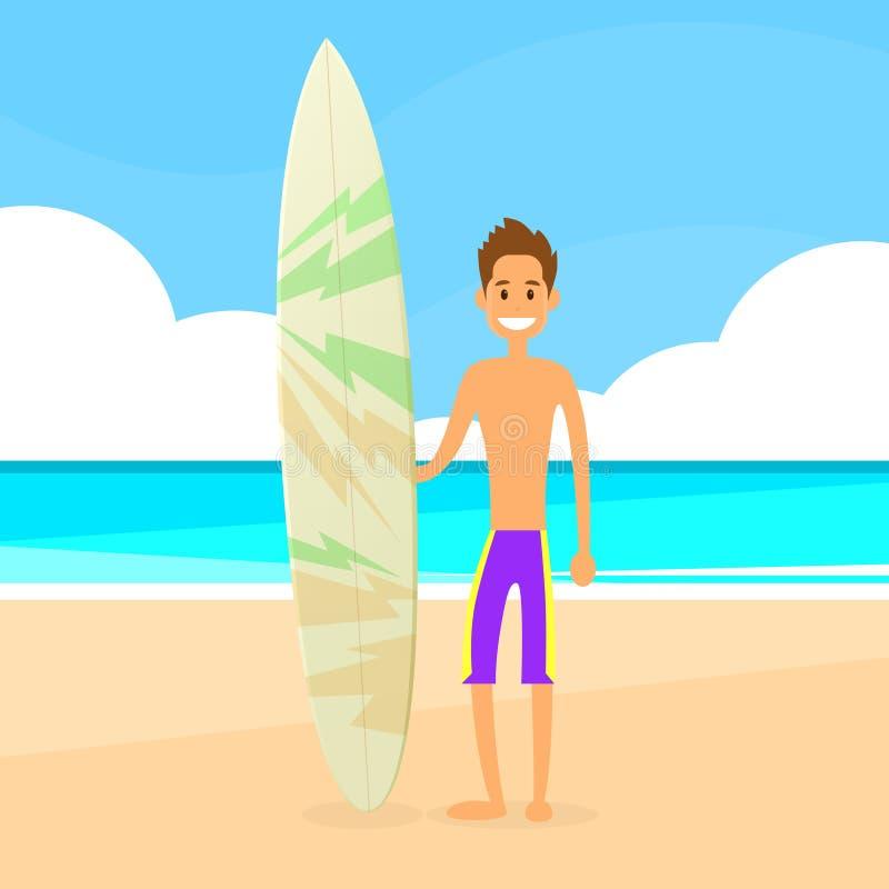 Surfingowa mężczyzna z surfing deski wakacje letni ilustracji