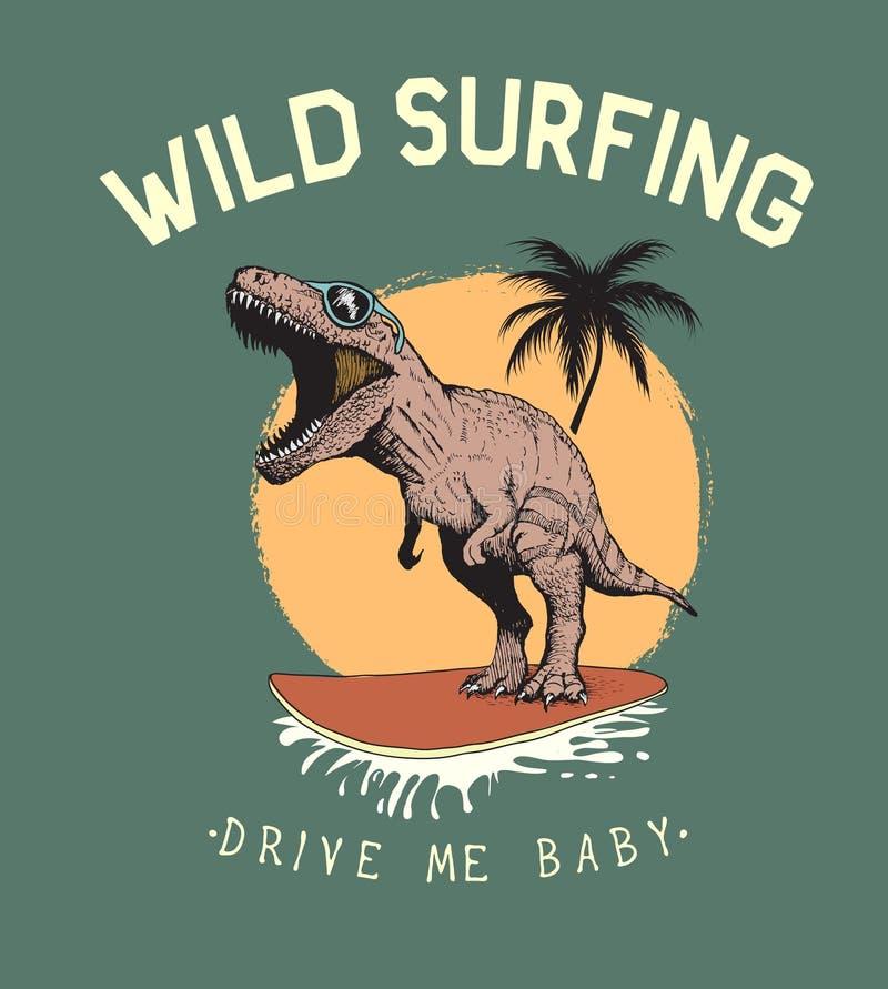 Surfingowa tyranozaura przejażdżki na surfboard royalty ilustracja