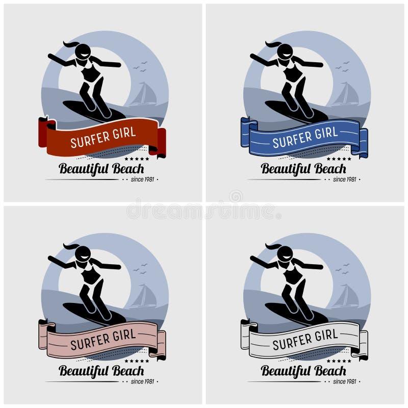 Surfingowiec dziewczyny surfingu logo projekt royalty ilustracja