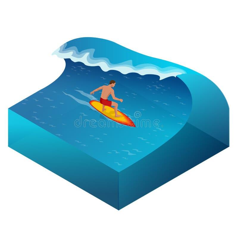 Surfingowiec na Błękitnej ocean fala w tubce Dostaje Beczkujący royalty ilustracja