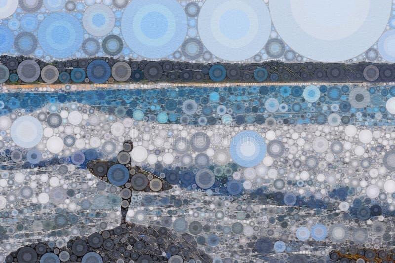 Surfingowiec na skałach abstrakcjonistycznych ilustracji