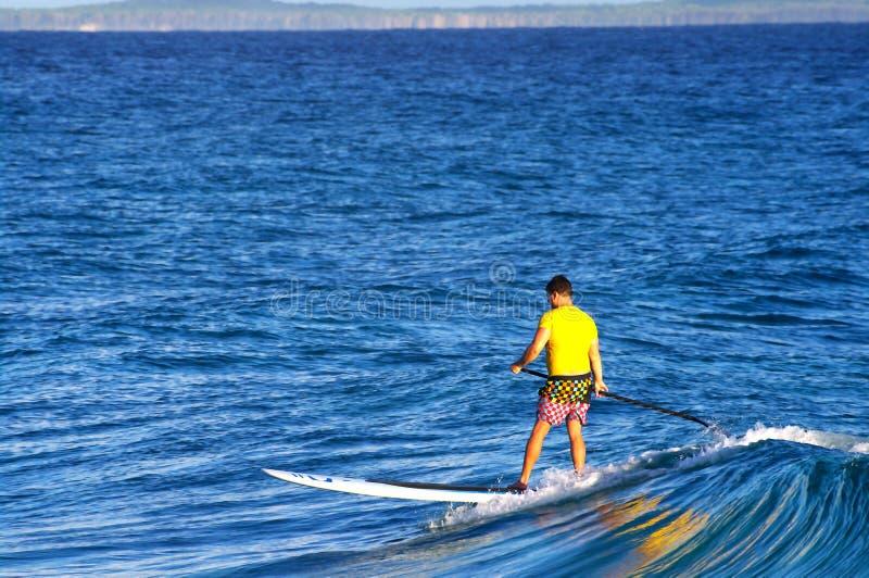 Surfingowiec na występujący solo paddle desce fotografia stock