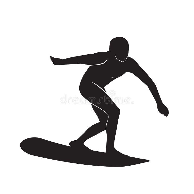 Surfingowiec sylwetki ikona royalty ilustracja