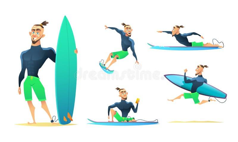 Surfingowiec w różnych dynamicznych pozach, pozycja, bieg, unoszący się, surfuje Postać z kreskówki projekt, wektorowa ilustracja ilustracja wektor