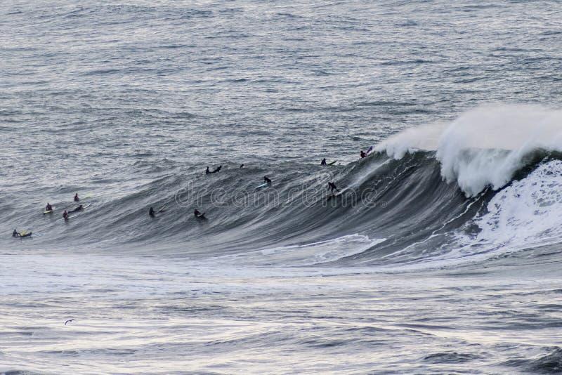 Surfingowowie jedzie ogromne fale na zachodnim wybrzeżu blisko do filaru punktu i indywidualistów, Wyrzucać na brzeg, Przyrodniej zdjęcia royalty free