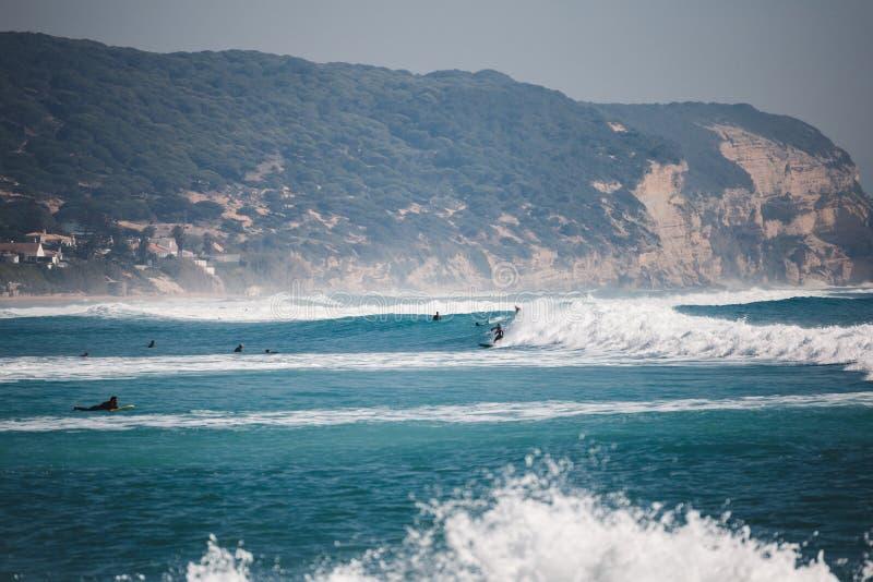 Surfingowowie na morzu z falami zdjęcie stock