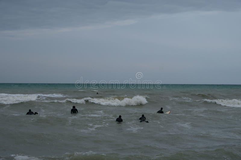 Surfingowowie w zimie w Rimini, Włochy Opróżnia podczas przyprawiającego daleko zdjęcia royalty free