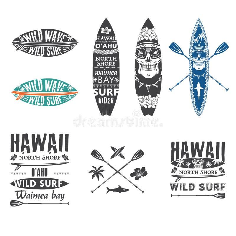 Surfingu emblemat ustawia 2 ilustracji