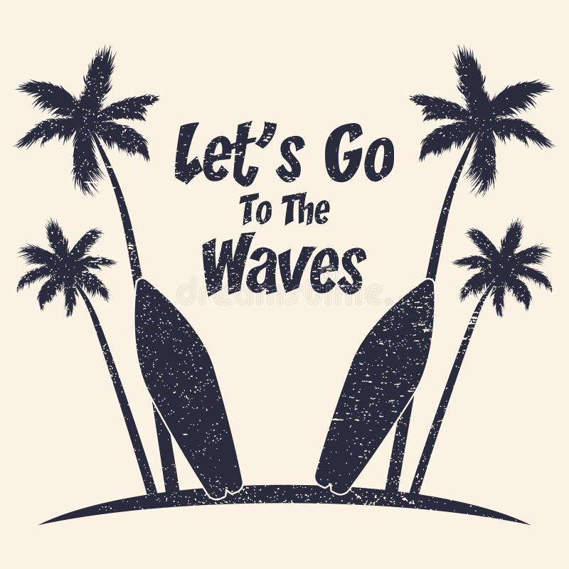 Surfingu grunge typografia z drzewkami palmowymi i surfboard r wektor ilustracja wektor