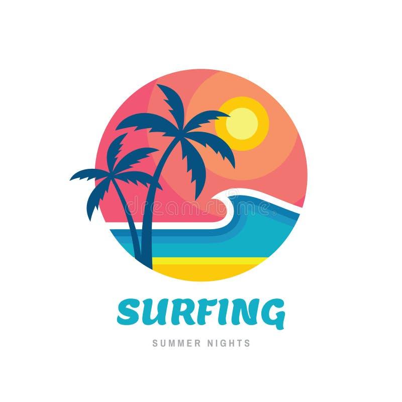 Surfingu lata noce - pojęcie biznesowego logo wektorowa ilustracja w mieszkanie stylu Tropikalnego wakacyjnego raju kreatywnie lo ilustracji