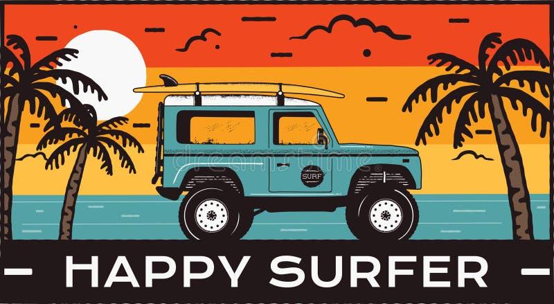 Surfingu loga emblemat Rocznik podróży ręka rysująca odznaka, plakat Uwypuklać kipieli samochodową jazdę na morze krajobrazie i p ilustracji