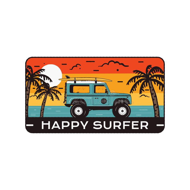 Surfingu loga emblemat Rocznik podróży ręka rysująca odznaka, plakat Uwypuklać kipieli samochodową jazdę na morze krajobrazie i p ilustracja wektor