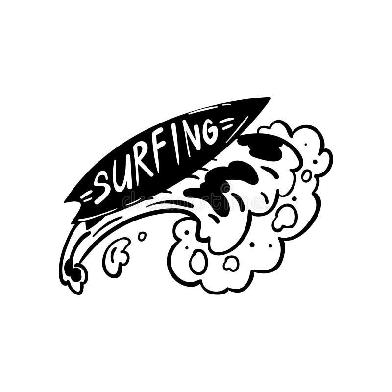 Surfingu logo, ręka rysujący projekta element może używać dla kipiel klubu, robi zakupy, ubrania druk, emblemat, odznaka, etykiet royalty ilustracja