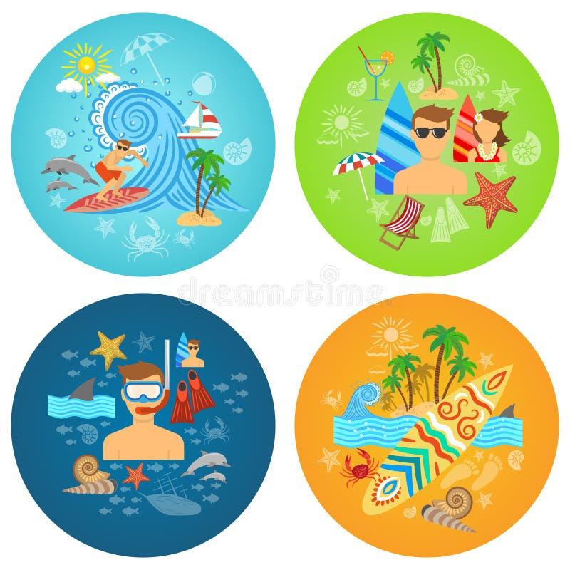 Surfingu mieszkania set ilustracji